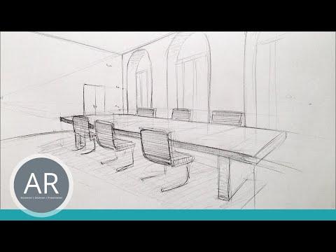 Raum in Zwei-Punkt-Perspektive. Ein Raum, zwei Einrichtungsmöglichkeiten – V.2
