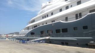 Super yacht Radiant moored up in ibiza town