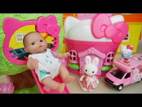 Thumbnail: Hello Kitty slide house and Baby doll with camping car toys play
