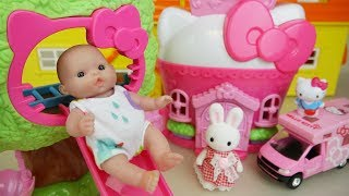 Hello Kitty slide house and Baby doll with camping car toys play thumbnail
