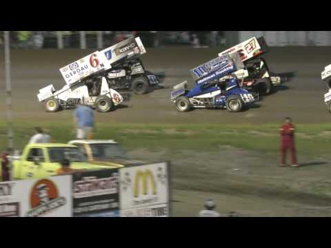 7 22 2016 NOSA Sprint car  Highlights River Cities Speedway,Grand Forks ND
