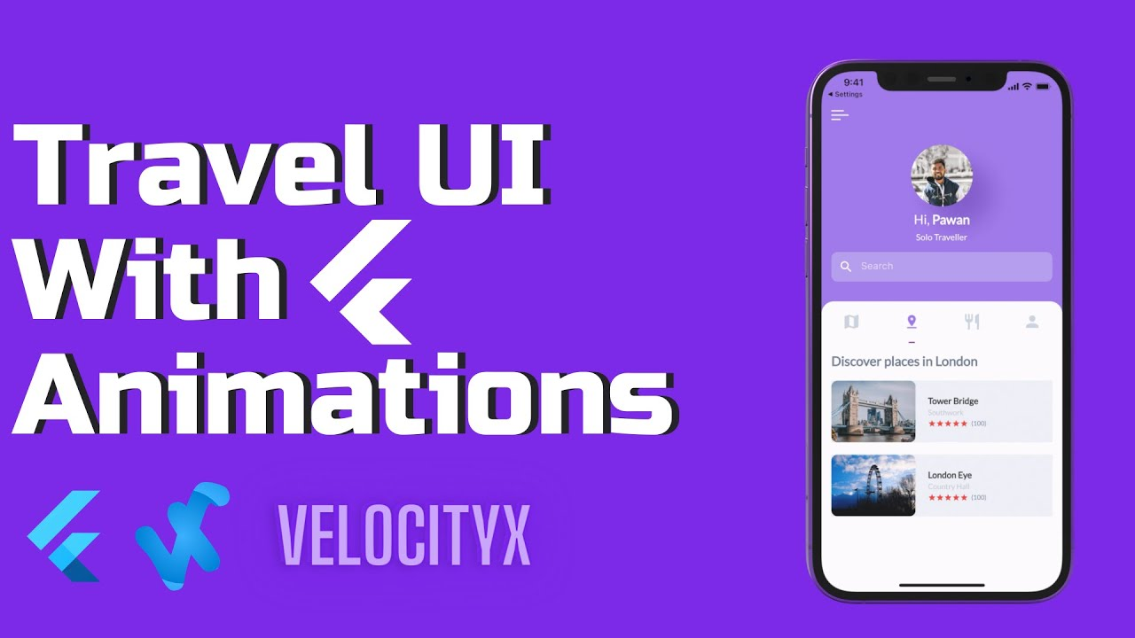 Flutter Travel UI with Animations | VelocityX Full Tutorial