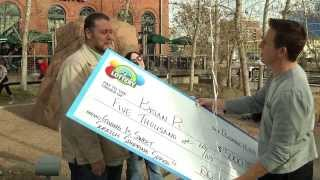 $5,000 Holiday Scratch Giving Is Sweet Shopping Spree Winner - We surprised Brian yesterday downtown to let him know that he had won the $5,000 Shopping Spree. Brian participated in our Giving Is Sweet contest and lo and behold, Merry Christmas!!