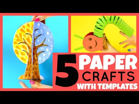 5 Paper Crafts for Kids With Templates - paper crafts ideas