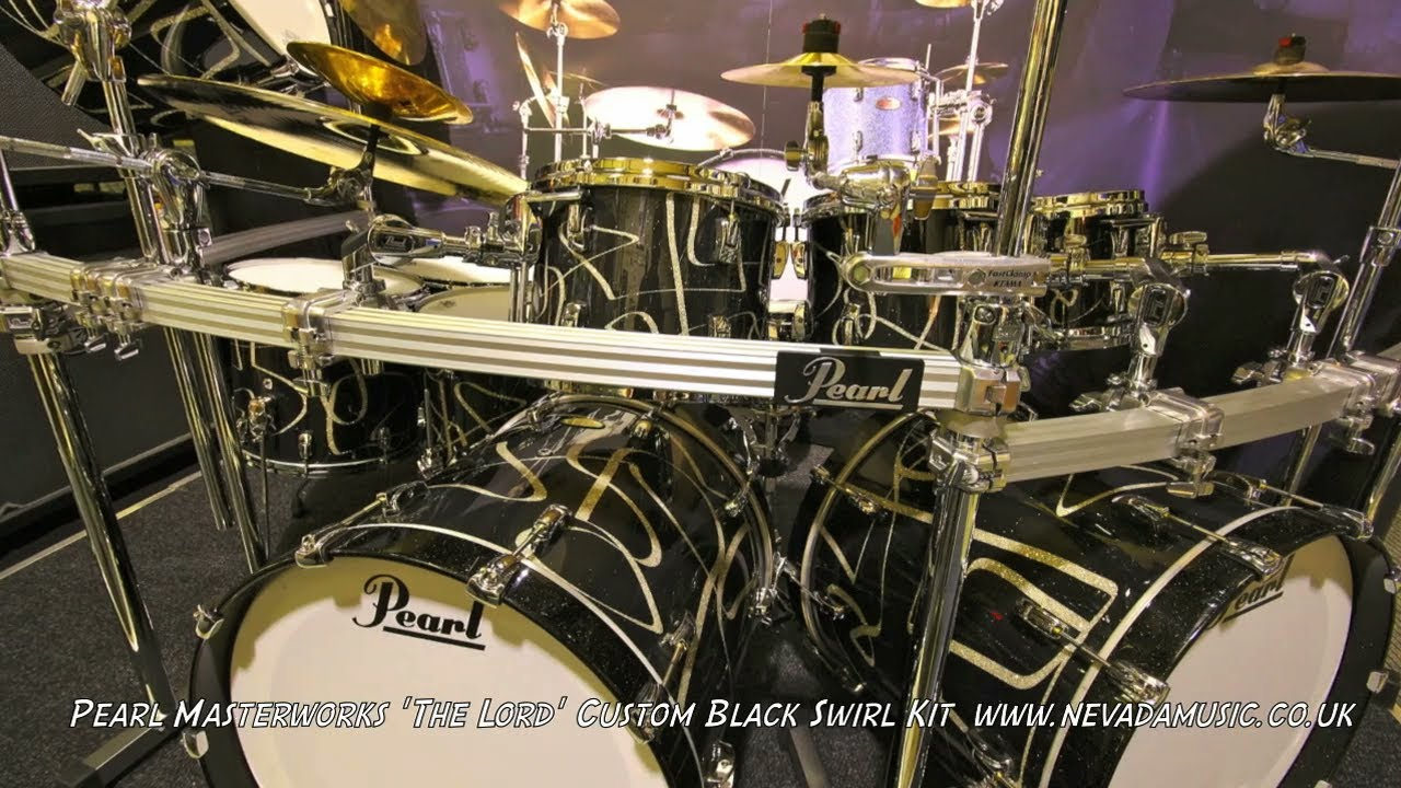 pearl masterworks drum kit the lord custom black swirl