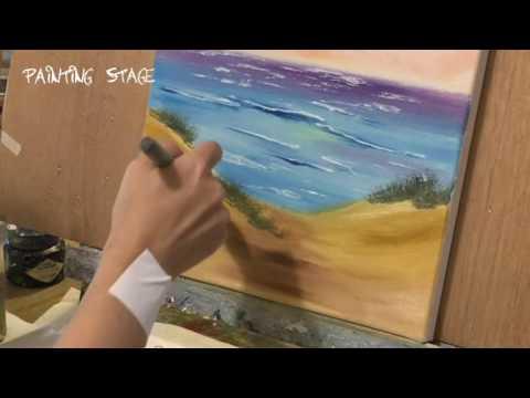 Painting Stage油畫教學-黃昏中的沙灘