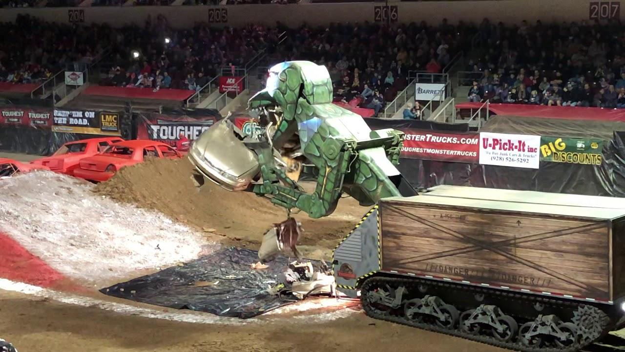 Megasaurus Car Eating Robot Dinosaur Toughest Monster Truck Tour 2019 Prescott Valley Az 1 12 19 Youtube