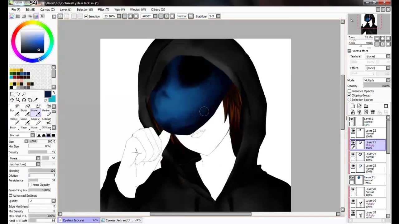 [SpeedPaint] Paint Tool SAI - Eyeless Jack - YouTube