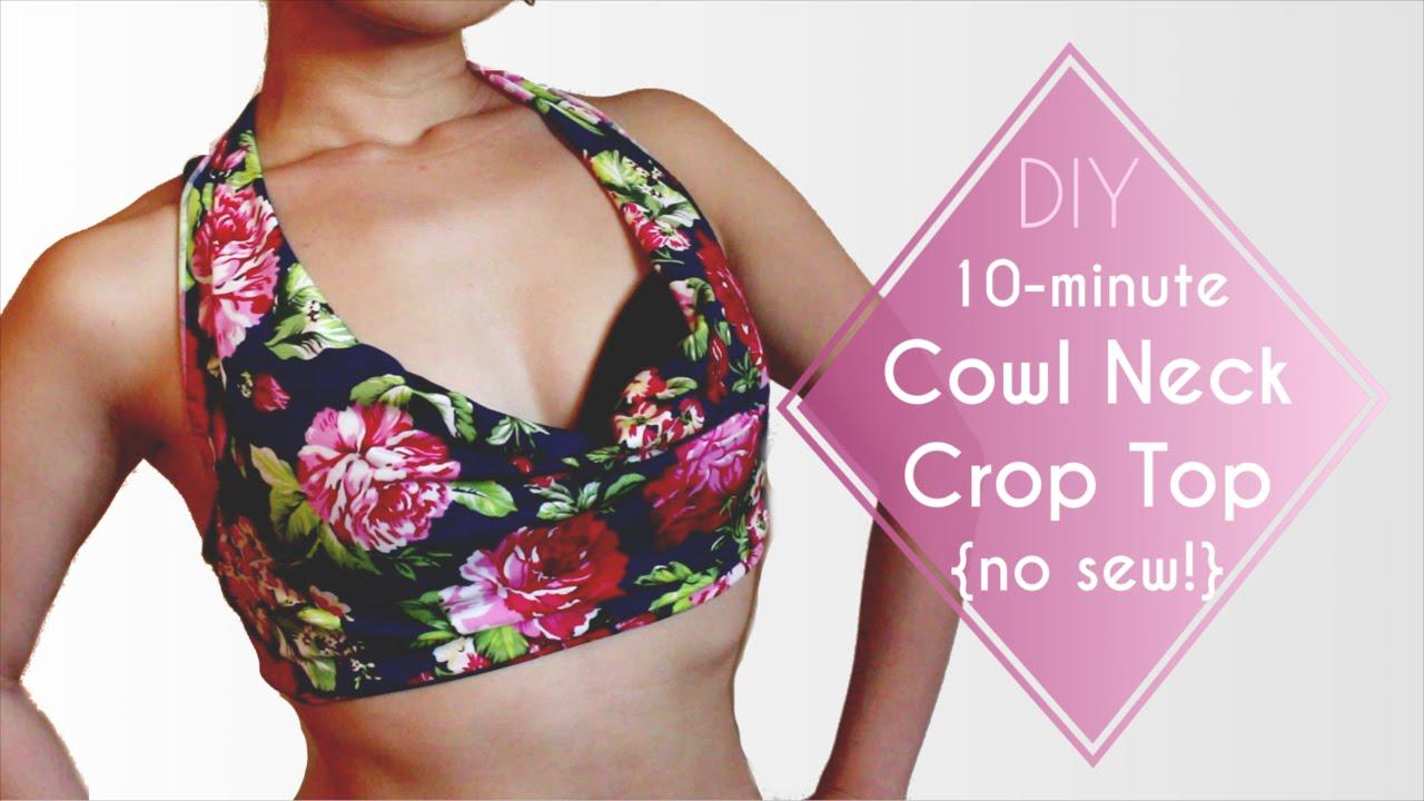 2d9ed9d587fb71 10-minute Cowl Neck Crop Top DIY  No Sew!  - YouTube