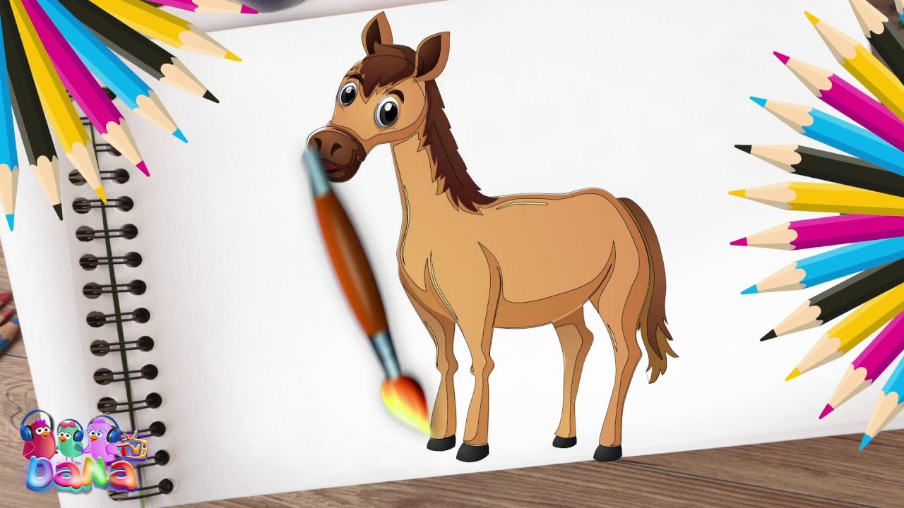 لنرسم الحيوانات ونلونهم مع اغنية طفل القرش   رسم نمر   رسم حصان   رسم فيل   رسم غزال   Dana Tv