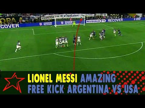 Lionel Messi Amazing Free kick - Argentina vs USA