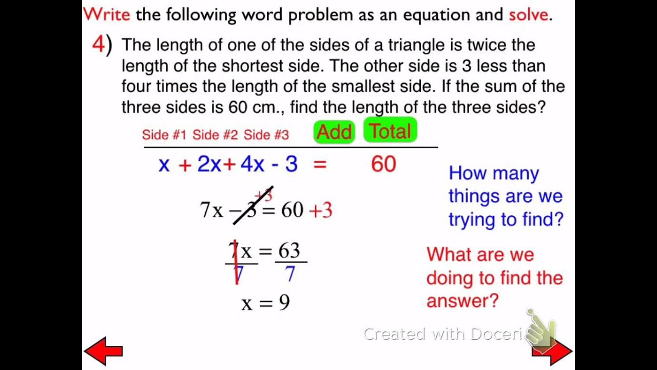46a Word Problems Involving Multi Step Equations Day 2