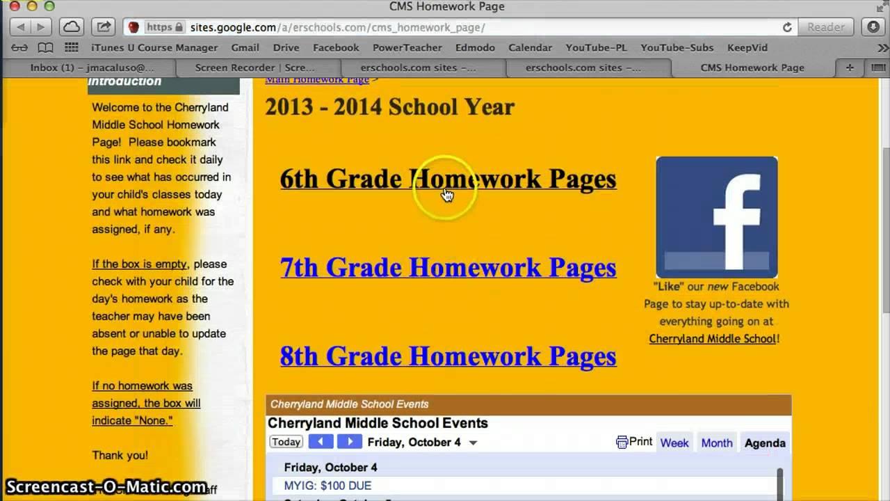 erschools homework page