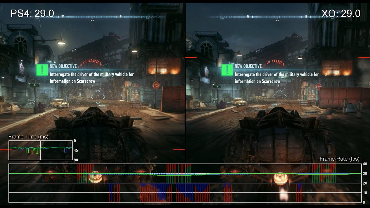 Batman: Arkham Knight PS4 vs Xbox One Frame-Rate Test - YouTube
