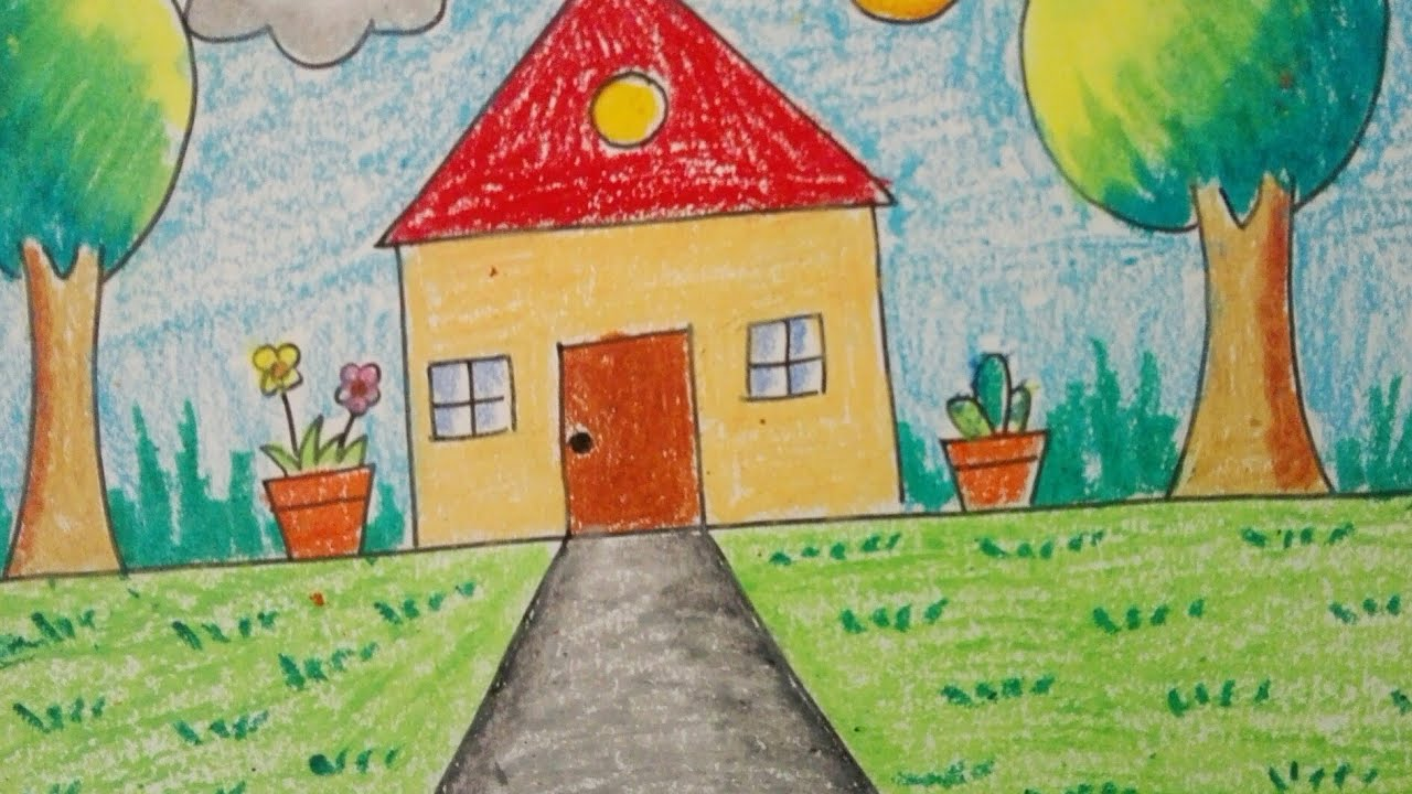 How to draw an easy scenery for little kids- Topic 'My ...