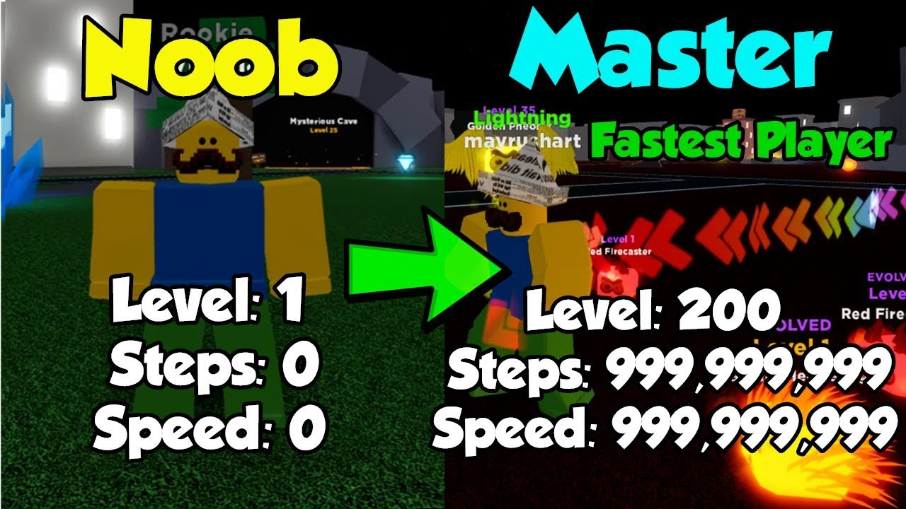 Roblox Player Speed Noob To Master Level 200 Becoming The Fastest Player 3 Million Steps Legends Of Speed Youtube