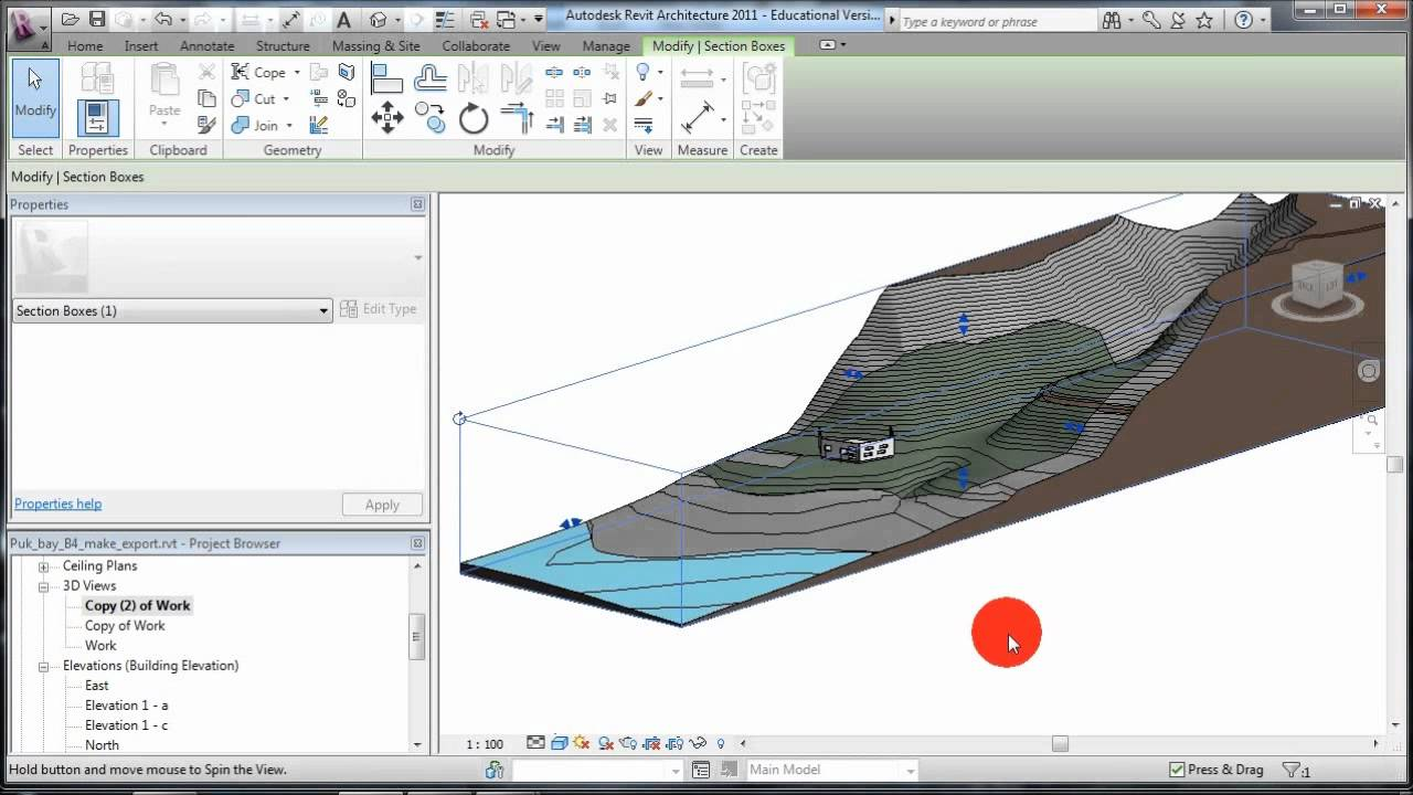 how to make section line through elevation contours in cad