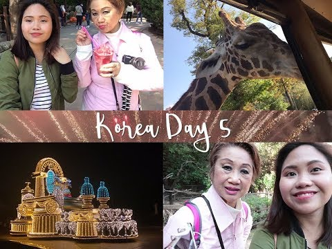 KOREA TRAVEL VLOG DAY 5 | Full Day in Everland! Safari, Light Show, Fireworks!