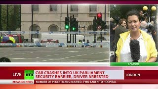 RT's Anastasia Churkina reports near UK Parliament after car crashes into barrier