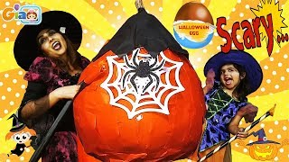 HALLOWEEN GIANT SURPRISE EGG GIANT PUMPKIN Opened by WITCHES