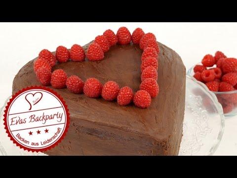 Schokoladenherz Mit Himbeeren Muttertag Valentinstag Herztorte