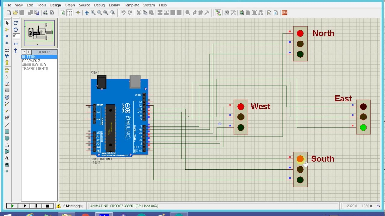 Arduino Code For 2 Way Traffic Light Finite State Breadboard Diagram Based System Youtube