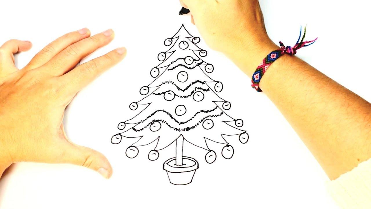 Cómo Dibujar Un árbol De Navidad Fácil Paso A Paso Para Niños Youtube