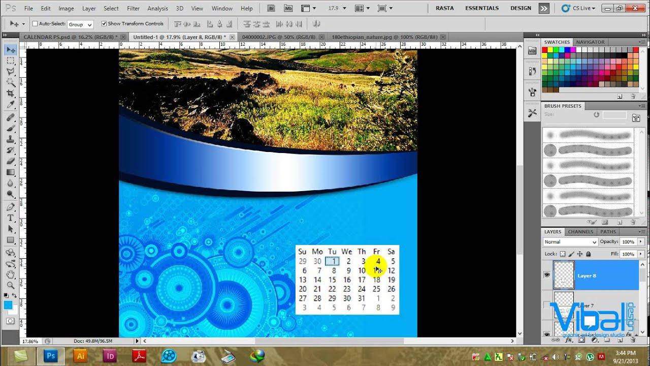 Calendar Design Tutorial : Designing a calendar in photoshop cs amharic tutorial by