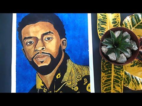 CHADWICK BOSEMAN   Black Panther Art Tribute   King T'Challa   Wakanda Forever   Watercolor portrait
