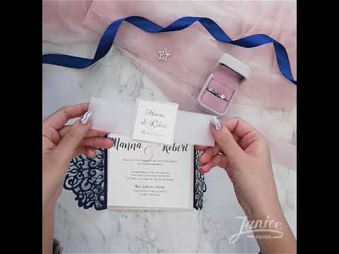 DIY Vellum+Navy wedding invitations suite