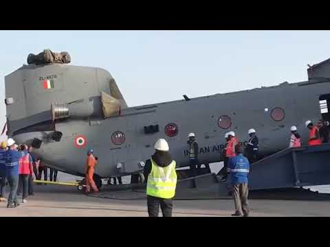 The first batch of four Chinook helicopters for the Indian air force arrived at the Mundra port