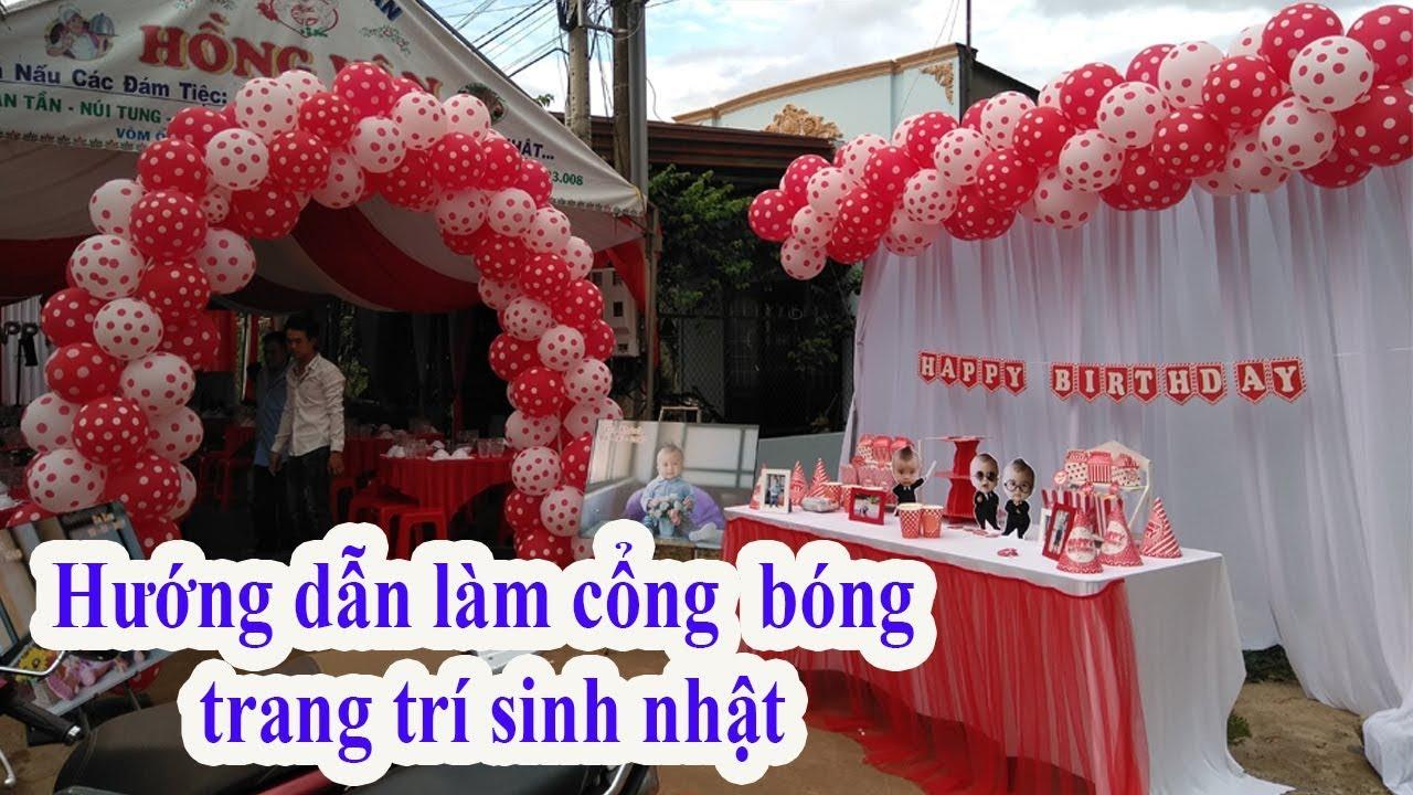 Hướng dẫn làm cổng bong bóng sinh nhật tại nhà cho bé gái   thầy linh bong bóng