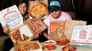 PIZZA + BLINDFOLD FASTFOOD CHALLENGE (GUESS THE RESTAURANT)