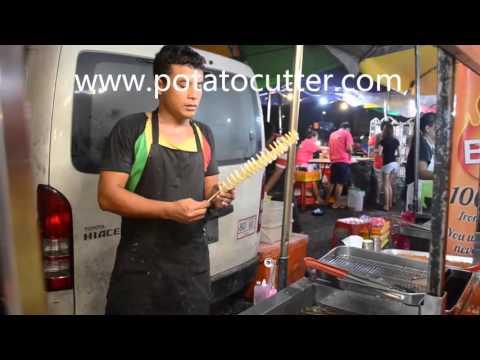Tornado Fries, chinese Street Food,Tornado Potato Street Food around the world,potato on a stick