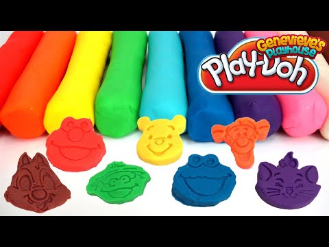 Learn Colors with Play Doh Cartoon Molds - Best Learning Videos for Babies Elmo, Mickey, Hello Kitty