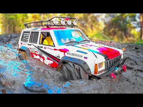 RC Cars MUD OFF Road Stuck in MUD Winch – Jeep Cherokee - Axial Wraith - Wilimovich