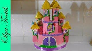 ТОРТ ДЛЯ ДОЧКИ НА 6 ЛЕТ Мастер-класс Как сделать торт замок принцессы  в домашних условиях