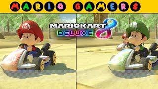 Mario Kart 8 Deluxe - Multiplayer - Baby Mario vs Baby Luigi (Banana Cup 50cc)