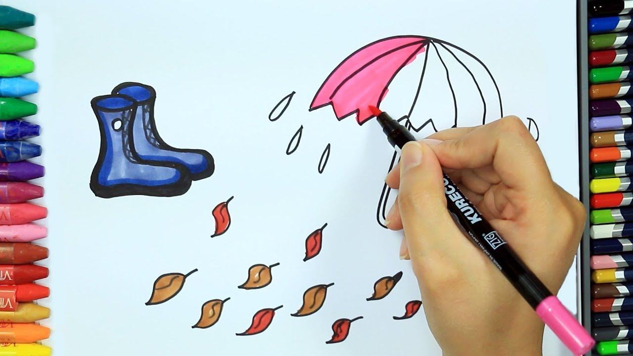 şemsiye Ve Bot Nasıl çizilir Boya Boya çizelim Boyayalım