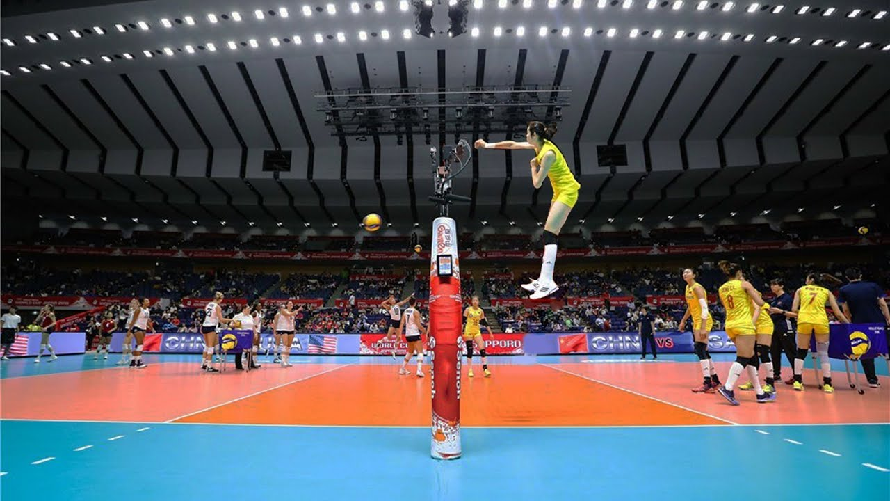 The Most Powerful Volleyball Spikes By Zhu Ting Hd Youtube