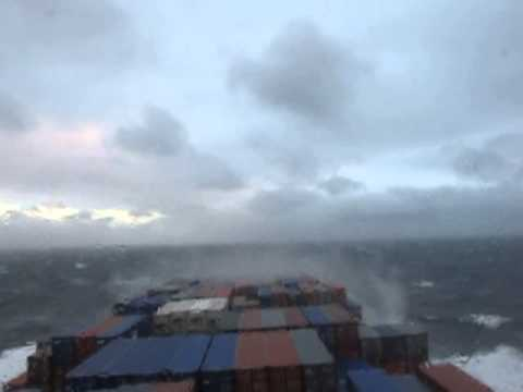 MOL Comfort as APL Russia in rough sea in Biscay.