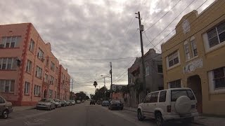 Little Havana Miami, Florida - Drive through neighborhood streets and Calle Ocho