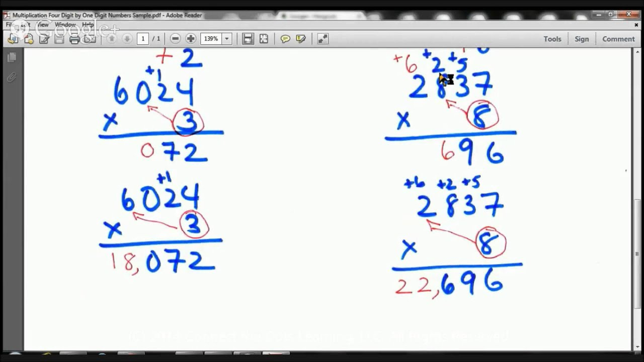 4th Grade Multiplying 4 Digit by 1 Digit Numbers Lesson Fullerton Tutors