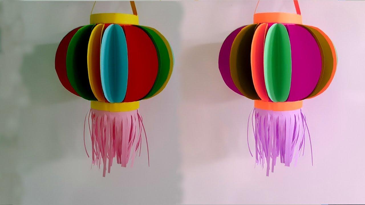 Hướng dẫn làm lồng đèn giấy đầy màu sắc cực xinh | Sáng tạo với giấy | Tư liệu mầm non