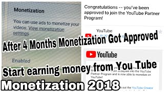 Monetization approved after 4 months|Monetization under review update 2018
