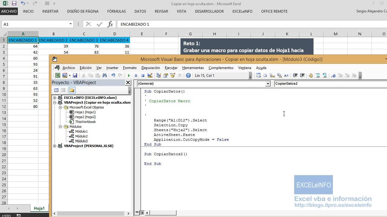 Copiar Datos de Hoja1 a Hoja 2 con macros en Excel - YouTube