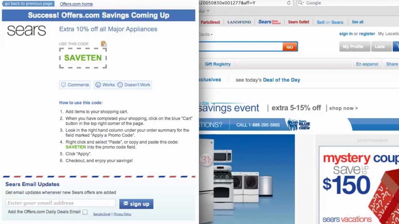 sears coupon code 2013 how to use promo codes and coupons for