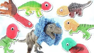 SCARY DINOSAURS AT JURASSIC PARK!!!   HIDE AND SEEK   Learn Dinosaur Names for Kids~~ REX