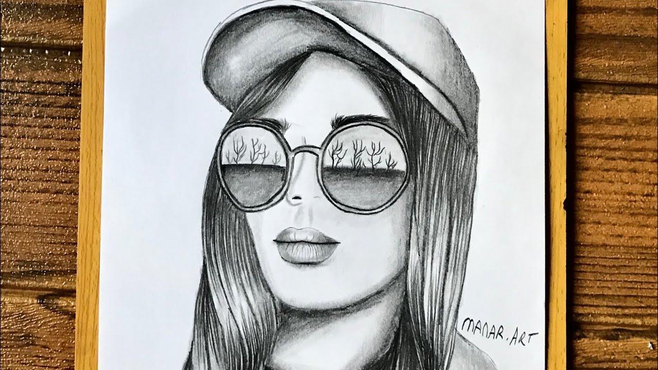 رسم بنت مع مناظر شمسية وقبعة كيوت بالرصاص للمبتدئين رسم سهل تعلم