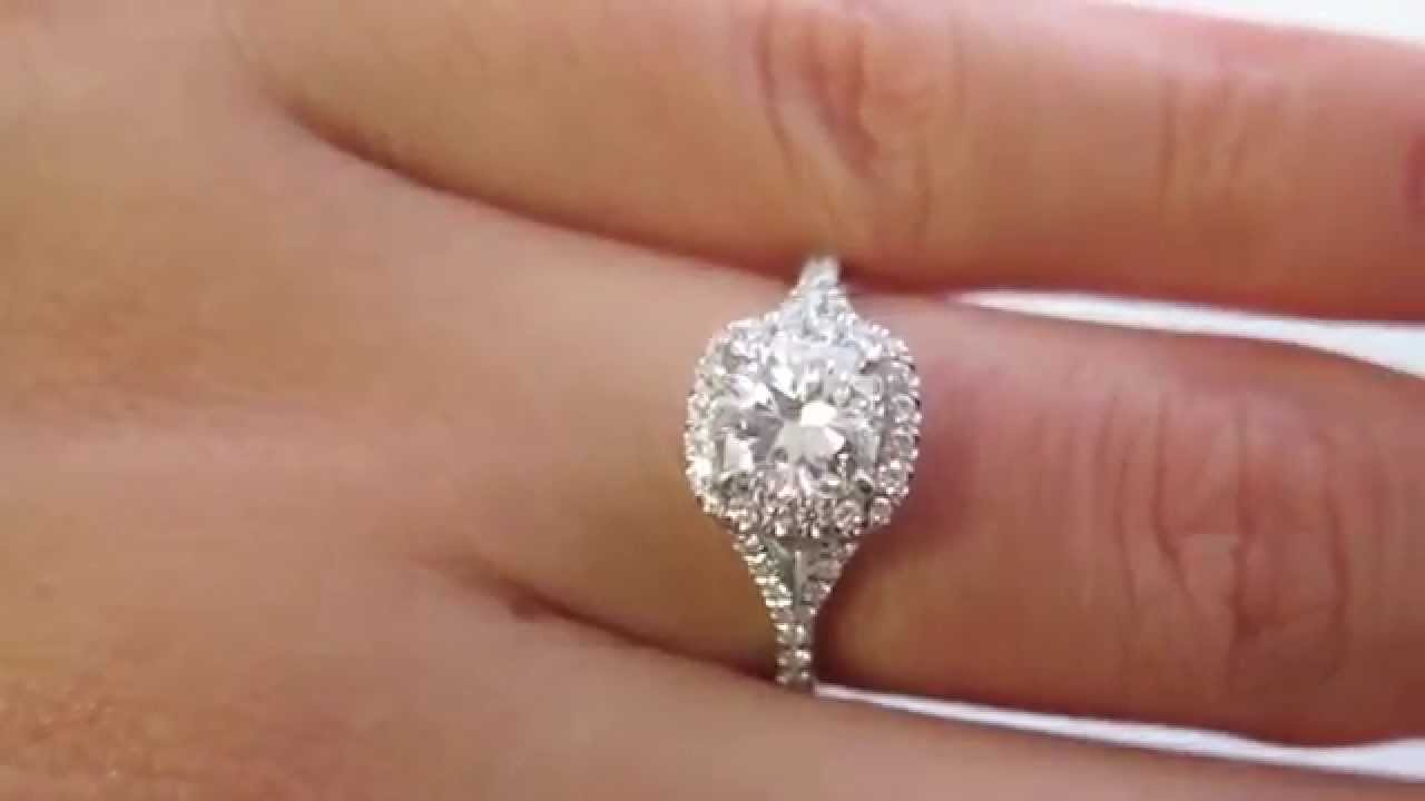 Gia 170ct Estate Vintage Cushion Cut Diamond Solitaire Engagement Halo  Platinum Ring